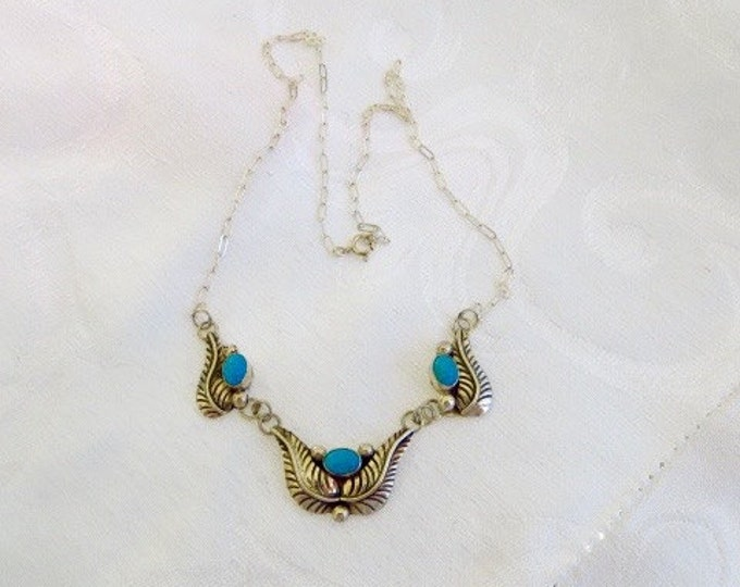Navajo Sterling Necklace Silver Turquoise Bib Southwestern Style Old Pawn Style