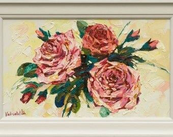 """Roses floral painting - original oil painting on canvas 11.8"""" x 19.7"""" Impasto painting, Framed, Ready to hang, Fine art by Valiulina"""