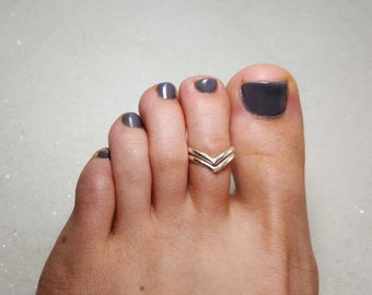 Silver Toe Ring, Double Chevron Sterling Silver Toe Ring, Adjustable Toe Ring, Chevron, Knuckle Ring, Midi Ring, 925 Sterling Silver
