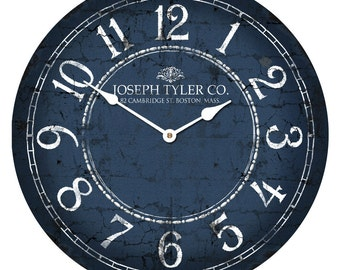 Blue & White Wall Clock