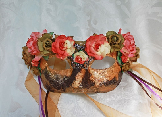 Brown Mulberry Paper Mache Flower Mask Renaissance Fair Masquerade Mask