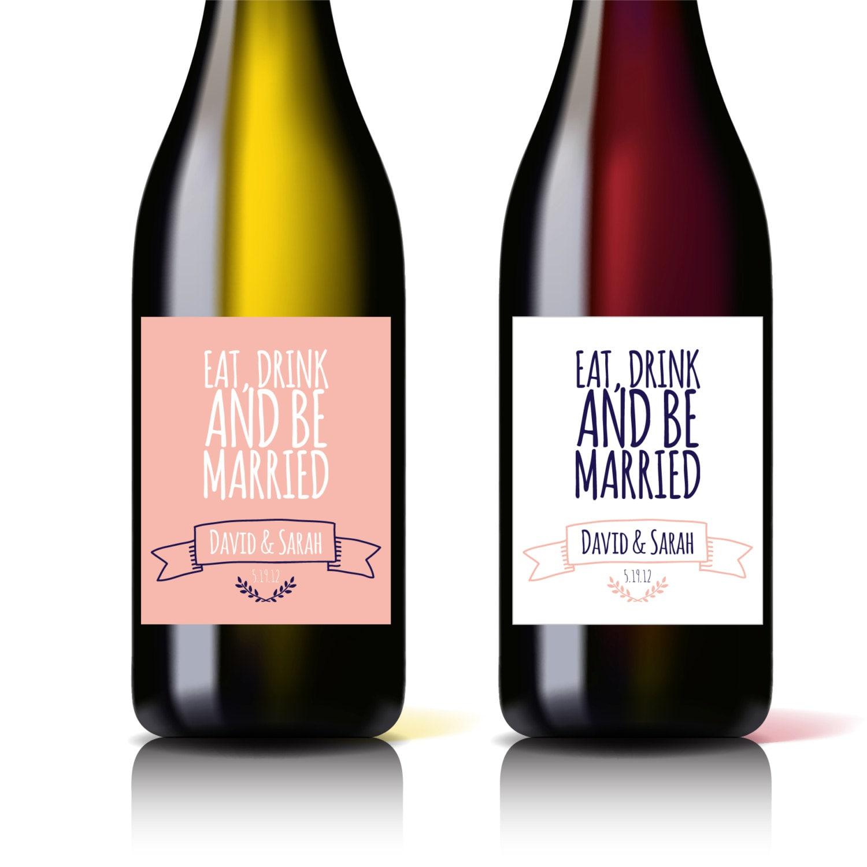 Printable Wine Bottle Labels: Custom Printable Wedding Wine Bottle Label Laurel Wreath