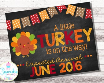 Thanksgiving Pregnancy Announcement | A Little Turkey is on the Way | Chalkboard Sign | Baby Reveal | Fall Pregnancy Photo Prop | Digital