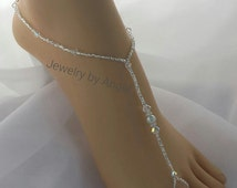 READY TO SHIP Crystal Bridal Barefoot Sandal Crystal Wedding Foot Jewelry