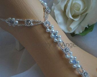 Bridal Foot Jewelry Pearl Blue Crystal & Rhinestone Barefoot Sandal Anklet