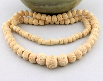 Vintage Tibetan Chinese Carved Ox Bone Ivory Color Beads Necklace