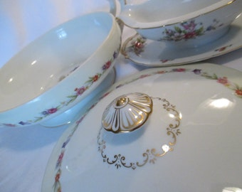 Vintage Mismatched China Serving Pieces, Round Covered Vegetable Bowl, Gravy Boat - Set of 2