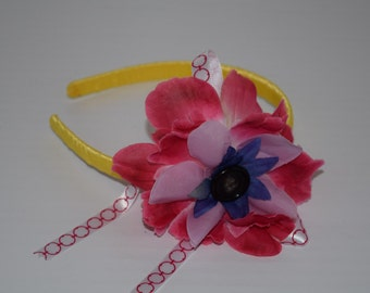 Pink and Yellow Flower Headband