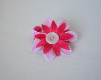 Pink Flower Pom Pom Hair Clip