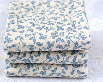 Denim Blue Leaf Print Fat Quarter | Cotton Fabric