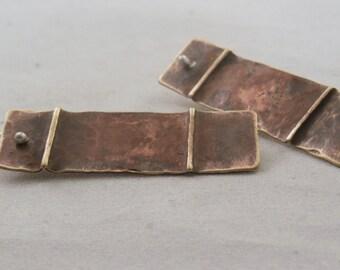 Brass Shield Hammered Form Folded Earrings