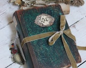 Rustic emerald green wedding guest book, memory book, scrapbook photo album - 9x6 inch hand bound made to order