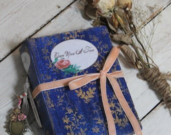 Fairytale wedding guest book, navy and peach vintage inspired wedding scrapbook photo album, photo booth album - 8.5x6 inches Made To Order
