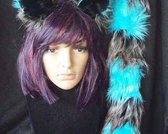 Teal and gray cheshire cat tail and ears
