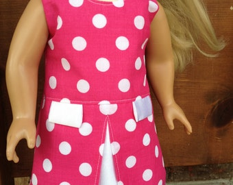 Pink and White Polka Dot Doll Dress 18 inch doll Dress American Girl Doll clothes Liberty Jane Patterns
