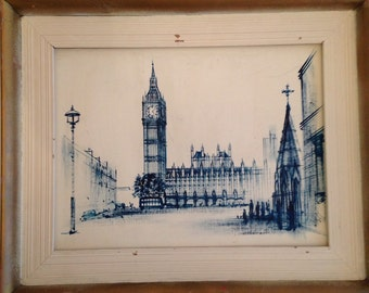 Framed Original Oil on Panel Painting of Big Ben Tower London by W Henry Moss / H Moss English Painter