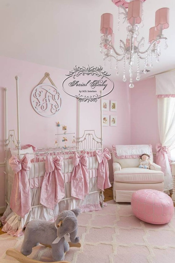 Boutique Silk Baby Bedding in white and baby pink silk dupioni