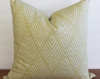 NEW- Decorator Pillow Cover -Green - Off White Geometric Lacefield Designs -Tahitian Stitch