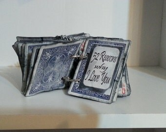Blue Deck - Completed 52 reasons Why I Love You - a creative gift for someone special - READY TO SHIP!