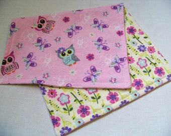 Owls and Flowers Reversible Burp Cloth