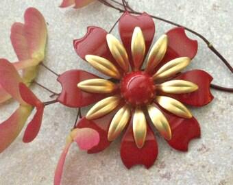 Gold and Red Flower Brooch Medium Red Enamel Flower Pin Red and Gold Wedding Red Metal Flower Flat Back  Pin Flatback Red Flower DIY Bouquet