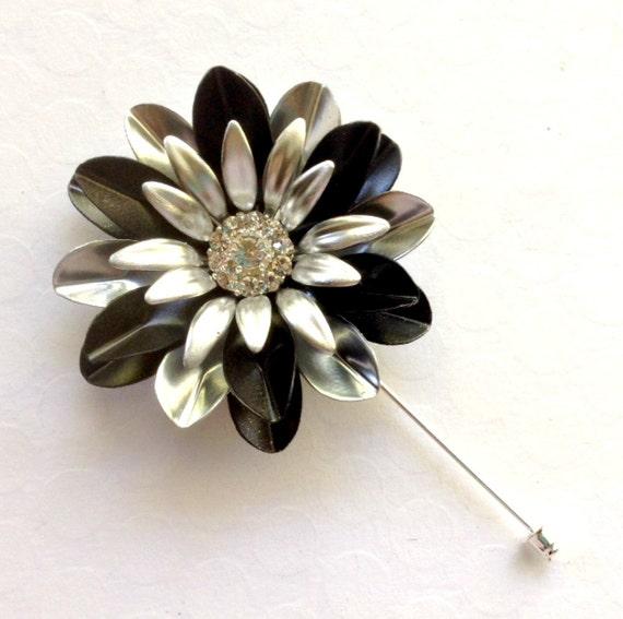 Stylish Beautiful Black Flower Lapel Pin: Large Silver Black Enamel Flower Lapel Pin By AliciasOddities
