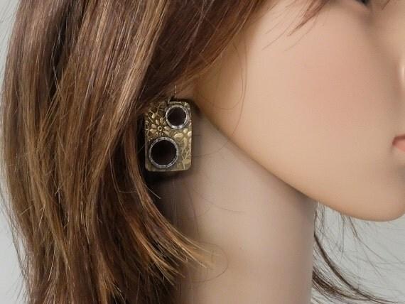 Mixed Metal Earrings, Copper Brass Silver Earrings, Earrings with Circles, Rectangular Dangle Earrings, Earrings with Cut Out Circles