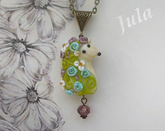 Pendant hedgehog, Necklace hedgehog, Jewelry hedgehog, Lampwork