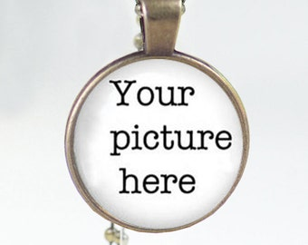 Personalized custom Necklace Pendant glass Any picture or text