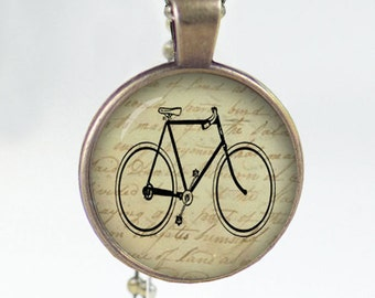 Vintage Bicycle Print Necklace Pendant  glass