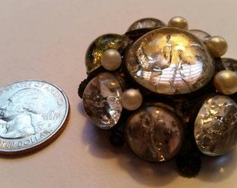 Large Domed Shape Crystal or Glass Fur clip