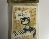 Vintage Birthday Party Invitations Laurel Cards Children's Birthday Party Cat Retro Party Supplies NEW Set of 12 Original Package