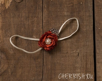 theSweetRustic Flower Headband // Newborn Flower Headband // Burnt Orange Flower Hair Bow
