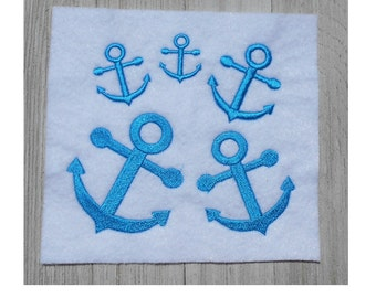 Mini Anchor Embroidery Design, 5 sizes, filled stitch, digital download, machine embroidery, nautical design