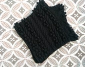 BLACK FRIDAY SALE Chunky knit Merino wool Poncho in Black / Women Poncho/ Knitted Poncho Ready to ship