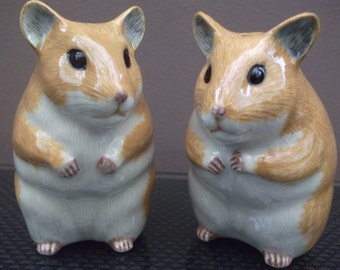 Hamster Salt and Pepper Shakers Hand Painted Smooth Hamster Salt and Pepper
