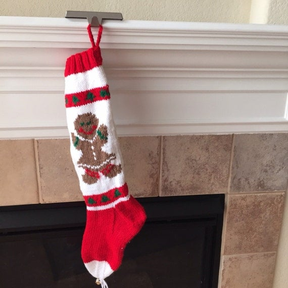 Hand Knitted Gingerbread Girl Christmas Stocking