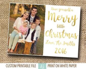 Gold, Printable Christmas Card with Photo- Photo Holiday Card- Family Card for Christmas