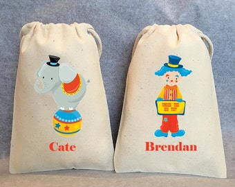 "Circus party, circus party favor bags, under the big top, bags 4"" by 6"" SET of 12"