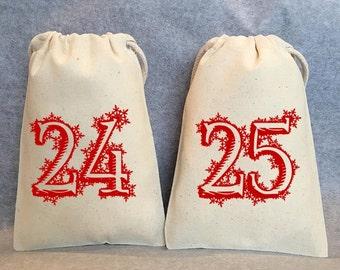 """25- Advent Calendar Bags, Christmas bags, Christmas gift bag, Christmas treat bag, Christmas party favor bag, Christmas gift,  4""""x6"""""""
