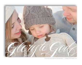 Christian Christmas Card Template - Bible Verse Religious Christmas Card - GLORY TO GOD - 1485