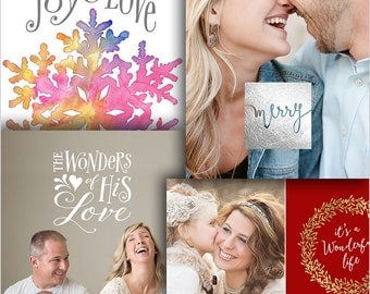 Holiday Card Templates Bundle for Photographers - 4 Card Bundle - 1491