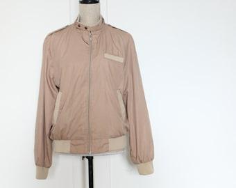 Vintage Camel / Beige / Tan lightweight Bomber Jacket