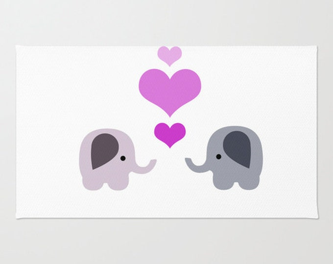 Elephant Love Floor Rug - Floor Mat - Room Rug - Nursery Art Rug - Bathroom Decor - Throw Rug - 2 Elephants with Hearts - Made to Order
