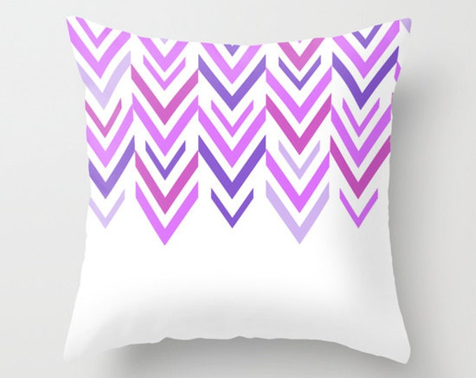 Purple Pillow - Throw Pillow Cover Includes Pillow Insert - Sofa Pillow - Decorative Pillow - Purple and White - Made to Order