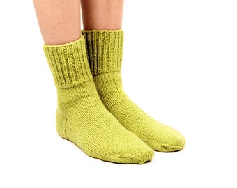 """MEN WOOL SOCKS """"Touring back roads"""".  Hand knitted from natural light green sheep wool yarn. Great for hiking"""