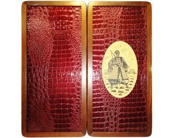 Handmade Carved Wooden Backgammon Board Game Set Ukrainian Cossack