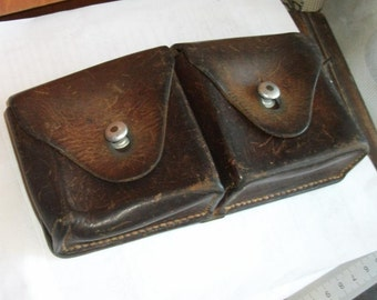 Swiss Army Cartridge Pouch - ammunition bag, old military magazine case, Made in Switzerland, Ammo Bag, Strong Dark Brown Saddle Leather