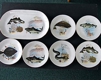 German 7pc. Fish Serving set