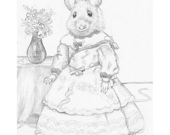 Mouse Pencil Study, Original Artwork, Mouse Portrait, Animals in Clothes
